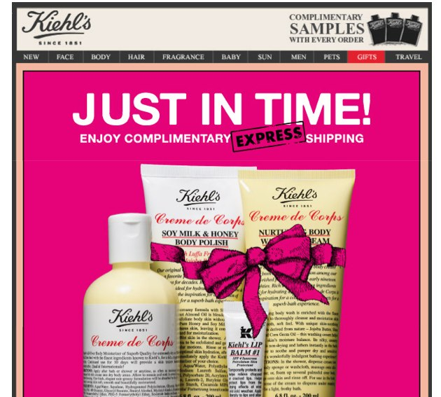 Kiehl's last minute holiday promotion